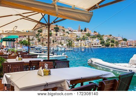 Sidewalk cafe on Symi. Dodecanese Islands Greece Europe