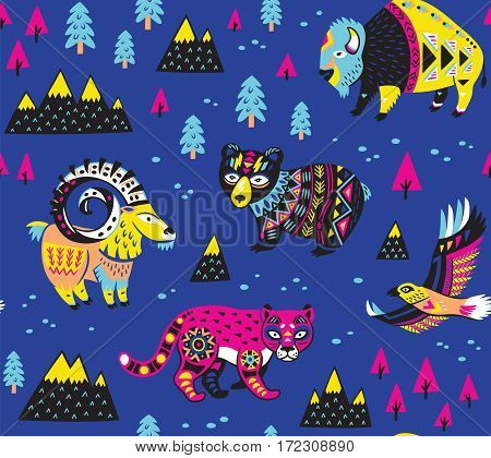 Seamless pattern of mountain animals with ethnic, tribal ornaments isolated on purple background. Vector illustration. Funny cartoon character.