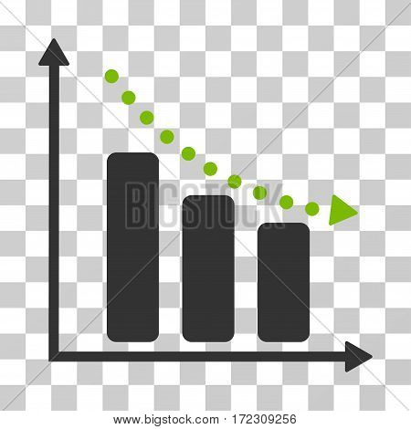 Negative Trend vector pictogram. Illustration style is flat iconic bicolor eco green and gray symbol on a transparent background.