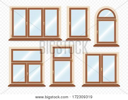 Realistic wooden plastic windows set. Vector illustration.