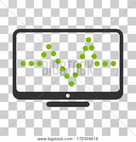 Pulse Chart vector icon. Illustration style is flat iconic bicolor eco green and gray symbol on a transparent background.