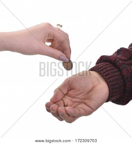 Senior man begging for alms. Woman gives money to poor man. Posing in studio on a white background