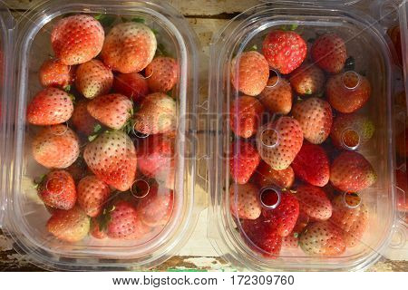 strawberry fruit  in the pack on wood