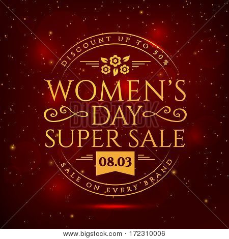 Women's Day sale banner. Discount template. Vector illustration.