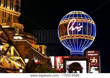 LAS VEGAS - OCT 09 : View of the strip in Las Vegas on Oct 09 2016. The Las Vegas Strip is an approximately 4.2-mile 6.8 km stretch of Las Vegas Boulevard in Clark County Nevada.
