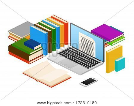 Online education, web e-book shop, library vector isometric concept. Electronic online library, literature in digital library illustration
