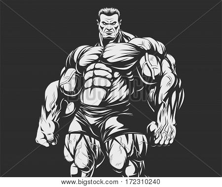 Vector illustration, Bodybuilder  strict coach bodybuilding and fitness