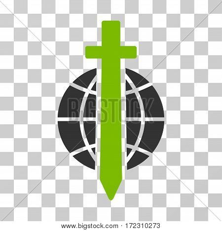 Sword Globe vector pictograph. Illustration style is flat iconic bicolor eco green and gray symbol on a transparent background.