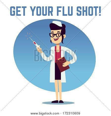 Smiling nurse woman with vaccine syringe vector vaccination concept. Doctor with syringe for injection, illustration of female in uniform with vaccine syringe