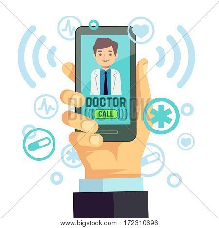 Mobile doctor, personalized medicine consultant on smartphone screen vector healthcare concept. Medical advice online, illustration of remote medical service