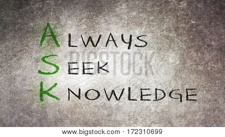 Acronym Of Ask - Always Seek Knowledge