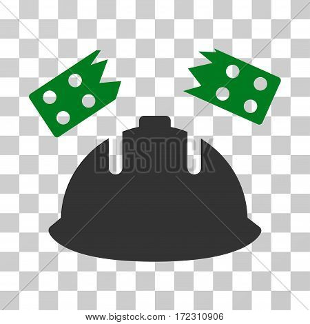 Brick Helmet Accident vector icon. Illustration style is flat iconic bicolor green and gray symbol on a transparent background.