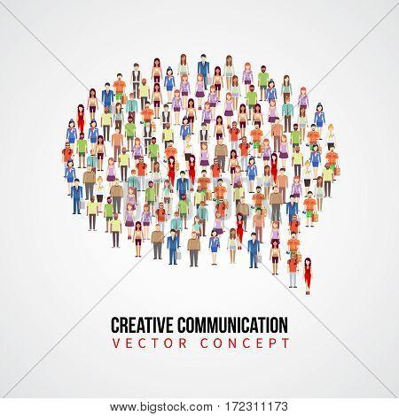 Communication vector concept, people crowd in speech bubble shape. Creative communication banner, illustration of form speech bubble