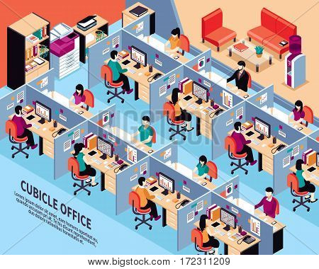 Office workplace isometric vector illustration with men and women working in cubicles at their desks vector illustration