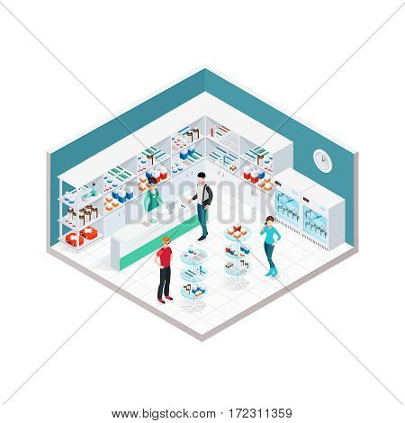 Pharmacy interior isometric composition with indoor apothecary counter shopboards and faceless characters of customers and druggist vector illustration