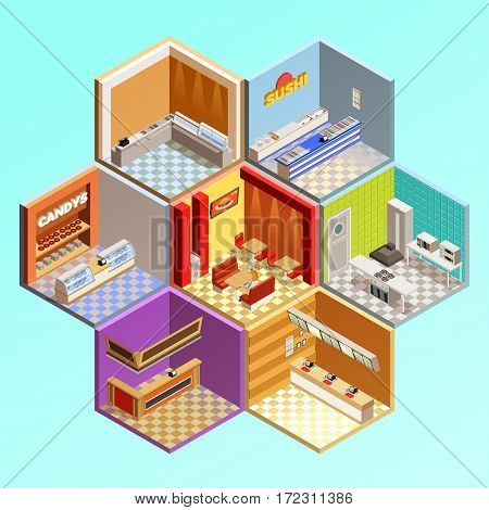 Food court composition with seven isometric cafe restaurant room interiors in tesselar pattern candys sushi bar vector illustration