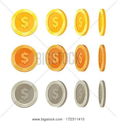 Cartoon golden coins in different positions, gold coin flip vector set. Golden and silver coins isolated, illustration of animation bronze coin