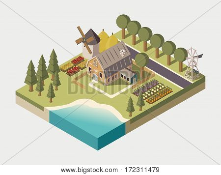Farmhouse with track windmill garden beds and trees stacks of hay lake and road isometric vector illustration