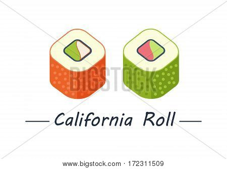 California rolls with tobiko, shrimp or tuna and avacado. Sushi rolls set icons. Vector illustration. Flat style.