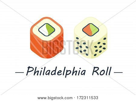 Two types of philadelphia roll: salmon, cheese, cucumber and salmon, sesame and avacado. Sushi rolls set icons. Vector illustration. Flat style.