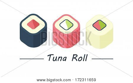 Tuna maki. Sushi rolls set icons. Vector illustration. Flat style
