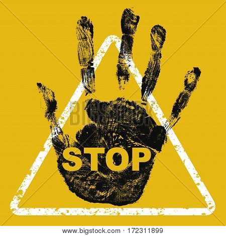Stop hand sign on yellow background. Danger warning sign.