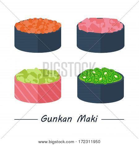 Gunkan maki with different fillings. Sushi rolls set icons. Vector illustration. Flat style.