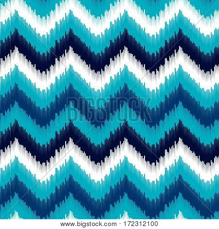 Ethnic blue and white ikat abstract geometric chevron pattern, vector background