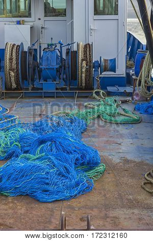 Fishing nets on deck of a professional fishing boat