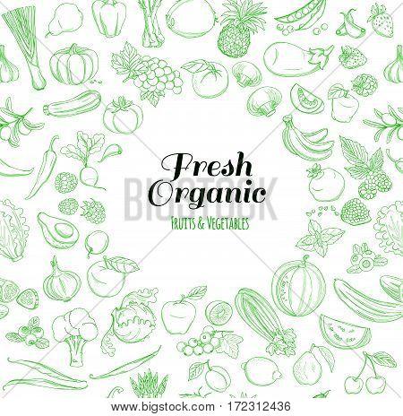 Round Frame background pattern of organic farm fresh fruits and vegetables. Vector illustration. Outline line flat style design. White backdrop.