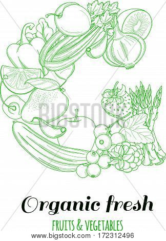 Letter G pattern logo of groceries organic farm fresh fruits and vegetables. Vector illustration logotype. Outline line flat style design. White backdrop.