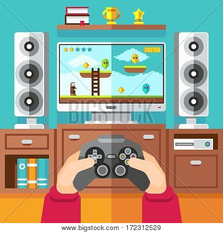 Teenager gaming video game with gamepad and playstation vector illustration. Boy playing in video game with joystick