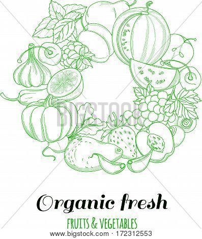 Letter O pattern logo of groceries organic farm fresh fruits and vegetables. Vector illustration logotype. Outline line flat style design. White backdrop.