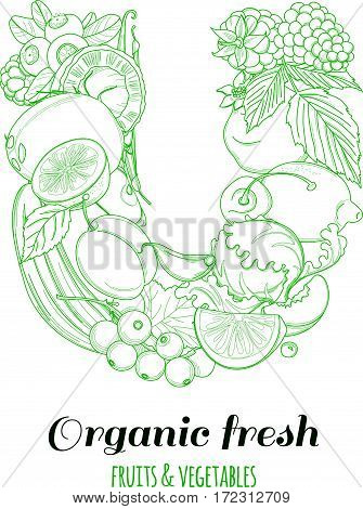 Letter U pattern logo of groceries organic farm fresh fruits and vegetables. Vector illustration logotype. Outline line flat style design. White backdrop.