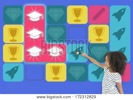 Education Mortarboard Spaceship Diamond Matching Game