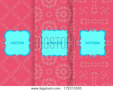 Set Of Seamless Patterns. Collection Of Pink Vector Backgrounds And Blue Labels. Monochrome Geometri