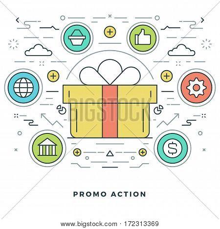 Flat line Vector illustration. Modern thin linear stroke icons. Website Header Graphics, Banner, Infographics Design, Promotional Materials.