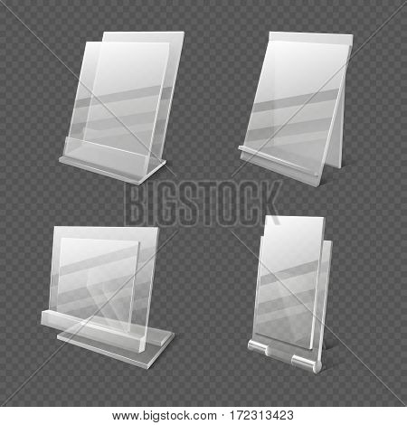 Display tables, transparent plastic sheets, information holders vector illustration. Set of plastic holder for information or menu
