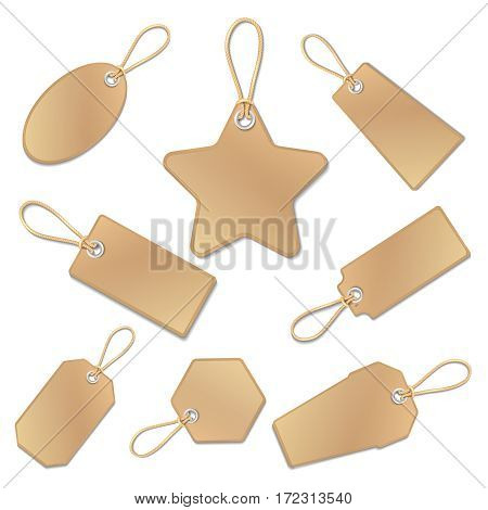 Blank vintage brown paper price tags with strings isolated on white. Collection of empty tags vector. Illustration of label tag for price and sale