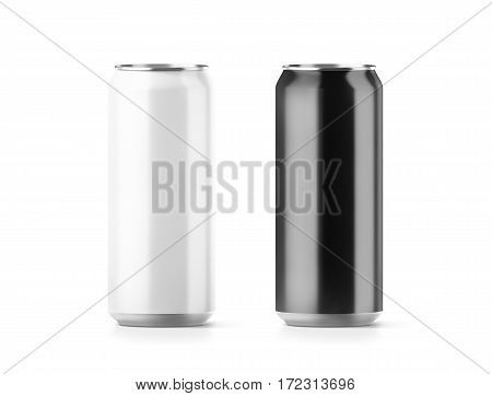 Blank big black and white aluminium soda can mockup set 3d rendering. Empty beer tin packing mock ups set isolated. Canned drink jar packaging design template. Plain fizzy pop bank package branding.