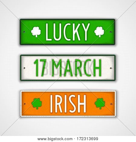 17 March. Irish. Lucky. Set of stylized badges in style car license plate. Vector design elements.