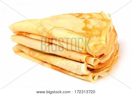 Thin pancakes folded stack.Isolated on white background.