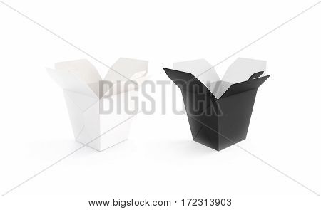 Opened black and white blank wok box mockup set stand isolated 3d rendering. Empty noodle carton box mock up. Asian take away udon food paper bag template. Chinese pasta meal container packaging.