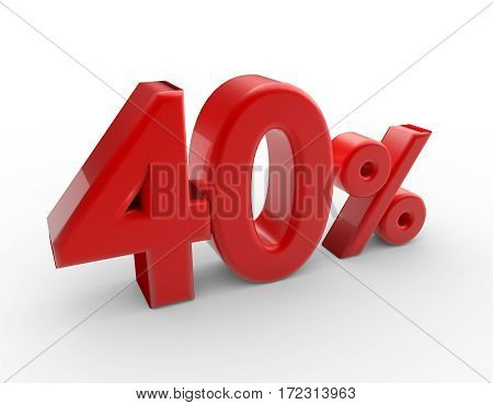 Words 40 percent discount isolated on white background. 3d render