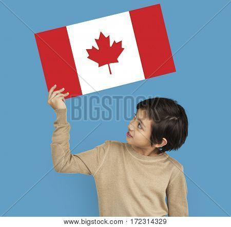 Man Hands Hold Canada Flag Patriotism