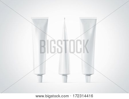 Blank white ointment tube mockup set front back and side view 3d rendering. Clear skincare cream pack design mock up. Clean gel bottle template logo branding presentation. Empty cosmetic paste.