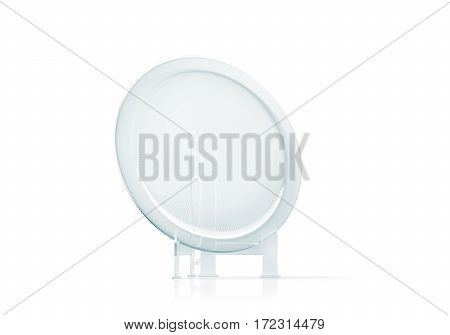 Blank round glass platter trophy mockup 3d rendering. Empty acrylic award design mock up. Transparent crystal prize plate template stand on holder. Premium first place prise plaque isolated on white