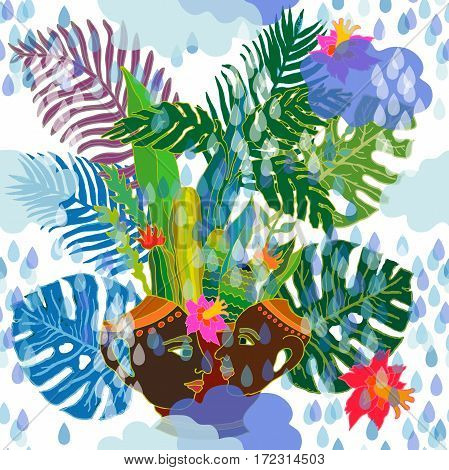 Seamless vector pattern with palm leaves, exotic flowers, water drops and ceramic sculpture. Ethnic textile collection.