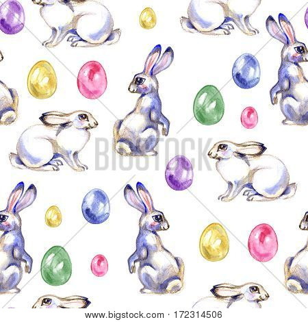 Watercolor Easter seamless pattern. Hand painted holiday wallpaper design with rabbits, colored eggs, flowers and plants on white background. Vintage style spring texture
