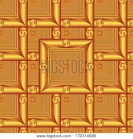 Patterned gold frame in the form of square tiles (vector EPS 10)